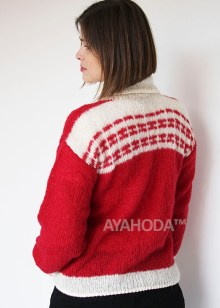 Ayahoda women alpaca and nerino winter sweater dark red cream