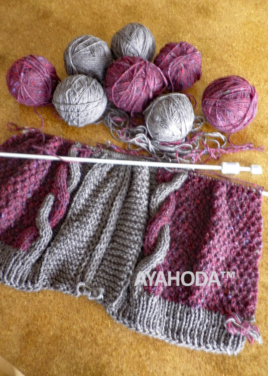 Ayahoda design women sweater cardigan burgundy red with grey, cables handknit