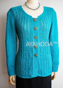 Ayahoda Turquoise Green Women Lacy Handknitted and Crocheted Cardigan - B0111.