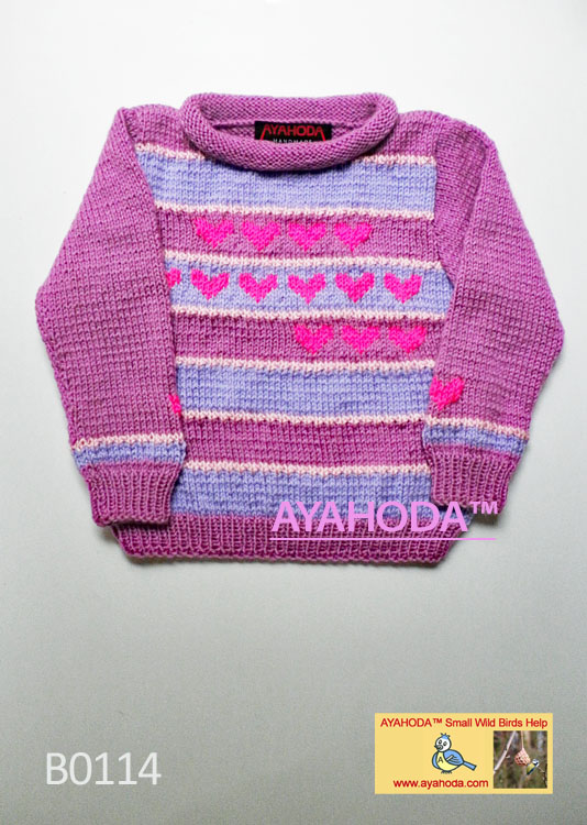 Girl´s Sweater with pink hearts Ayahoda Design