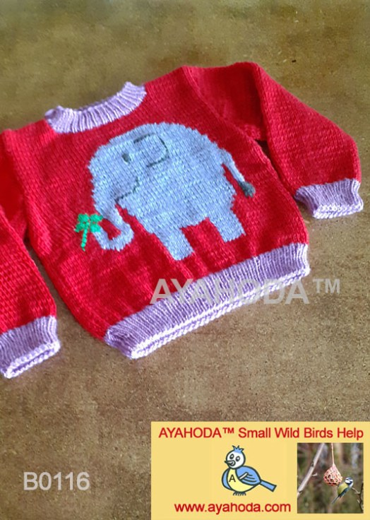 Ayahoda Handmade Kids sweater with elephant