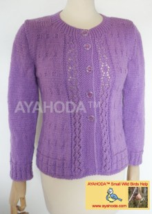 Ayahoda Handmade Women sweater Cardigan Lavender Lacy