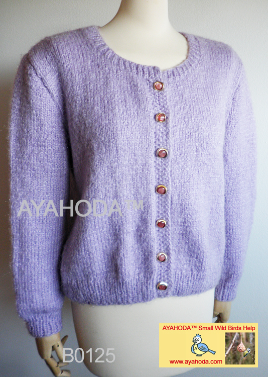 women sweater cardigan light purple lavender winter warm ayahoda design B0125