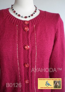 Women sweater cardigan burgundy red ayahoda design