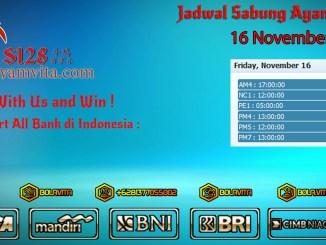 Jadwal Sabung Ayam 16 November 2018