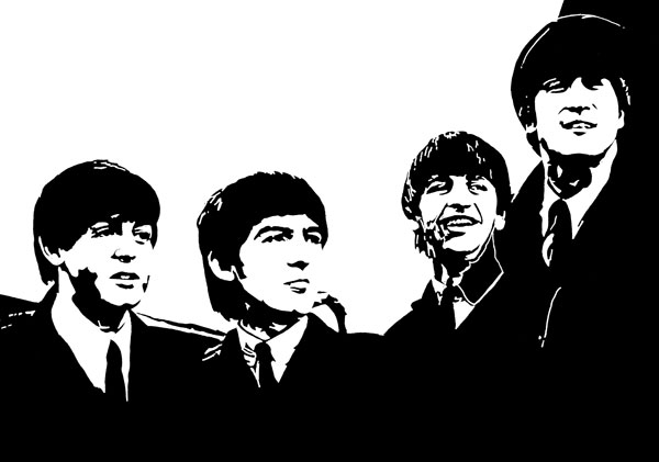 Beatles US visit 1964 ink drawing  by Ayd Instone
