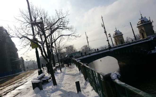 Smetanovo riverbank and Bridge Legii