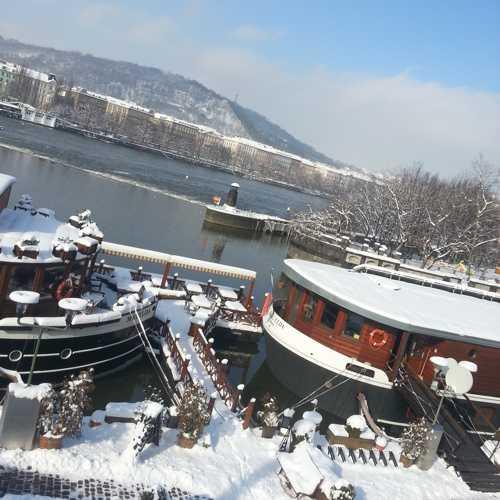 Naplavka riverbank near Manes - boats with snow