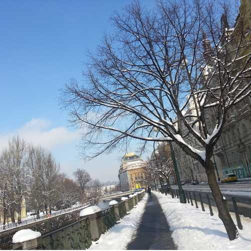 Winter VIew of National Theatre from Smetanovo riverbank