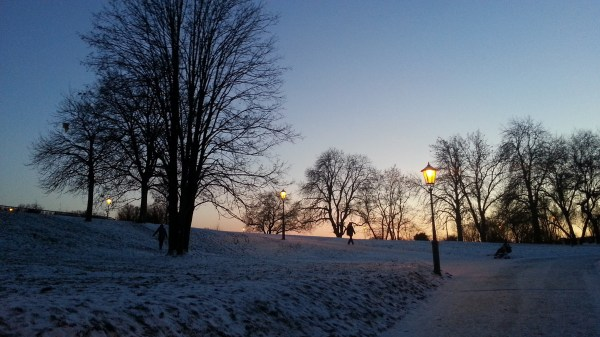 Sunset at snowy Vysehrad