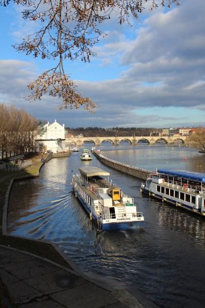 View from Legii bridge, sunny winter day, Prague
