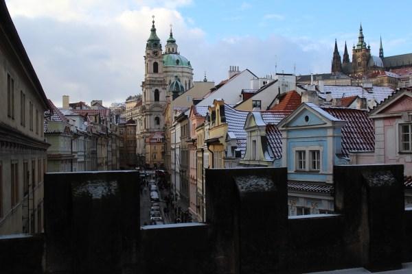View from Lesser Town Bridge Tower toward Prague Castle and St.Nicholas churh