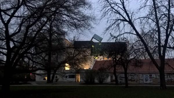 Prague at night - Sovovy Mlyny Gallery at Kampa park