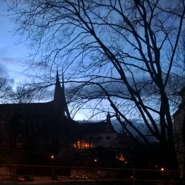 Emauzy Church at night