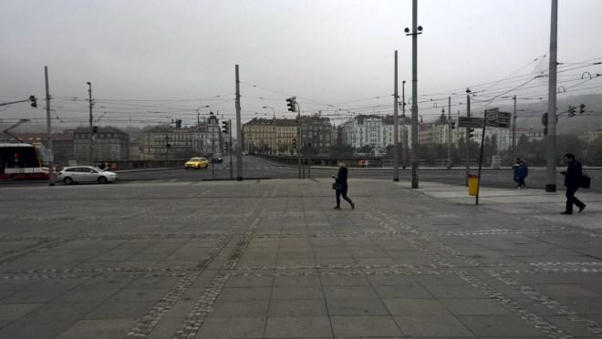 Prague in autumn grey Palackeho square
