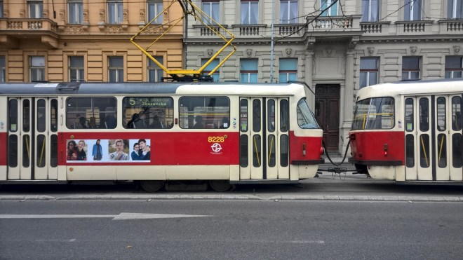 Prague photography red tram