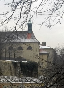 Emauzy-church-in-winter-in-snow-Prague