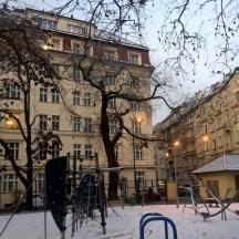 Winter-dawn-playground-in-snow-Prague