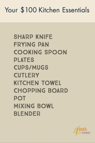 Hundred Dollar Kitchen Essentials list featuring sharp knife, frying pan, cooking spoon, plates, cups/mugs, cutlery, kitchen towel, chopping board, pot, mixing bowl, blender