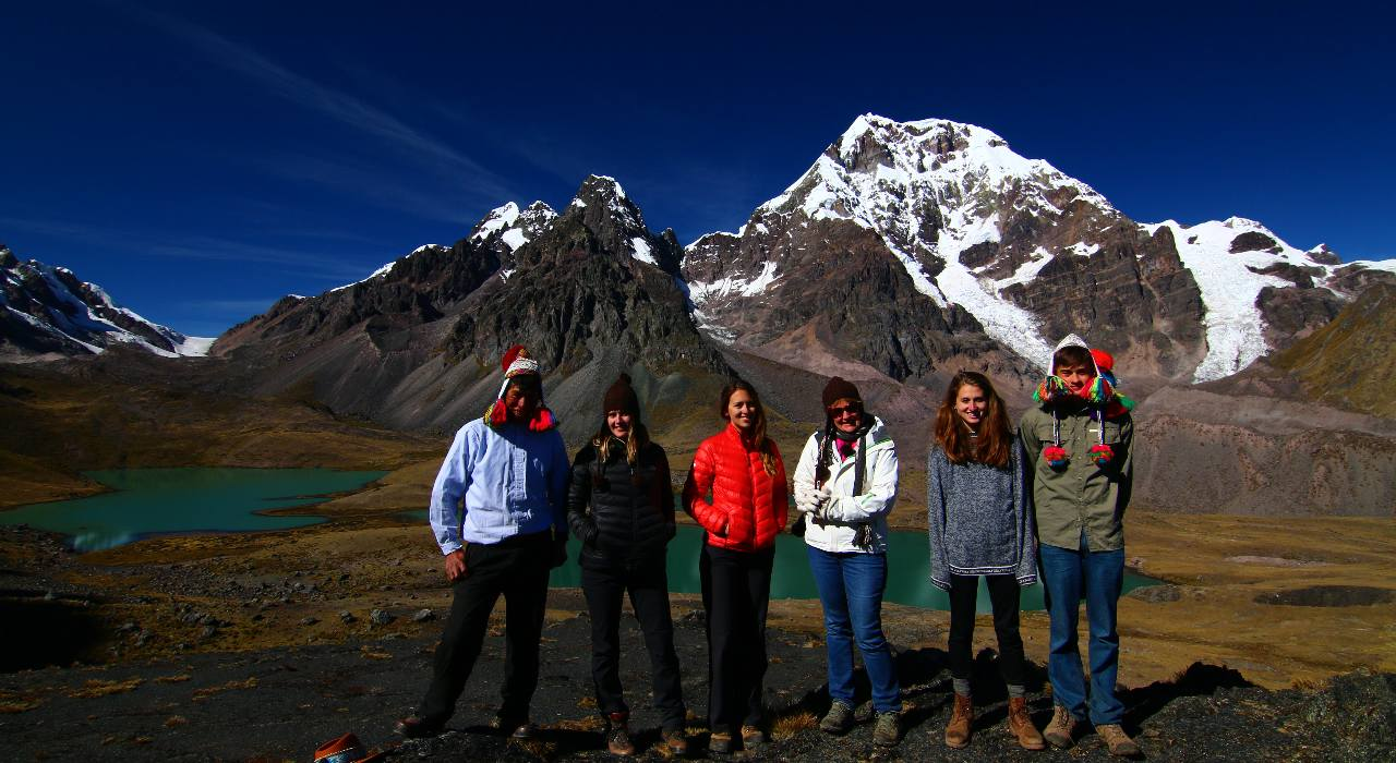 A group of trekkers hike near Pacchanta in Peru