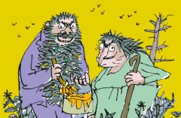 Animated drawing of a grotesque man and women, the Twits.