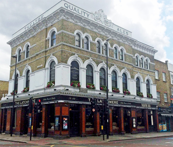 A street view of a large pub theatre. The signage on the front reads The Latchmere and Theatre 503.