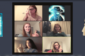 A still image from a video call between five participants.