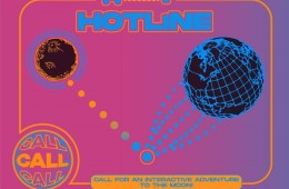"One blue and one red planet-like sphere, connected by small dots, against a pink background. Text on the image reads: ""Hotline. Call, call, call."""