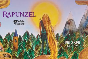 A bright painting showing the sun, some greenery and, in the centre, the princess Rapunzel with her flowing golden hair.