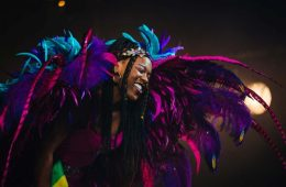 A colourfully dressed young woman attending carnival.