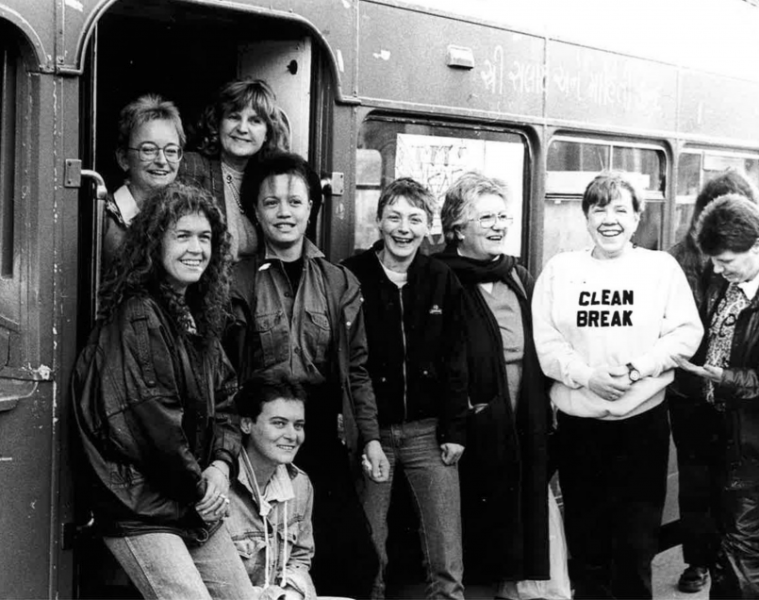 A black and white photo of ten women who form the Clean Break theatre company