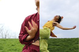 Two different images of two women dancing which is split down the middle.
