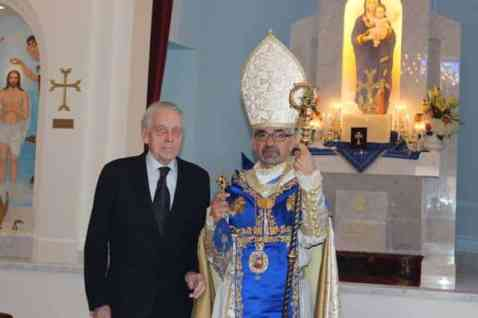 Larry Barnes with H.E. Archbishop Moushegh Mardirossian on the day of St. Garabed Church Consecration - April 14, 2013
