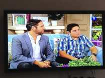 Director Christopher Chambers and lead actor John Roohinian on the morning show on Armenian TV station, Channel 1.