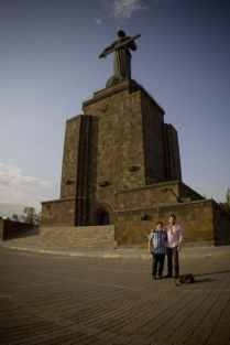 Director Christopher Chambers and lead actor John Roohinian visit the famous Mother Armenia Monument