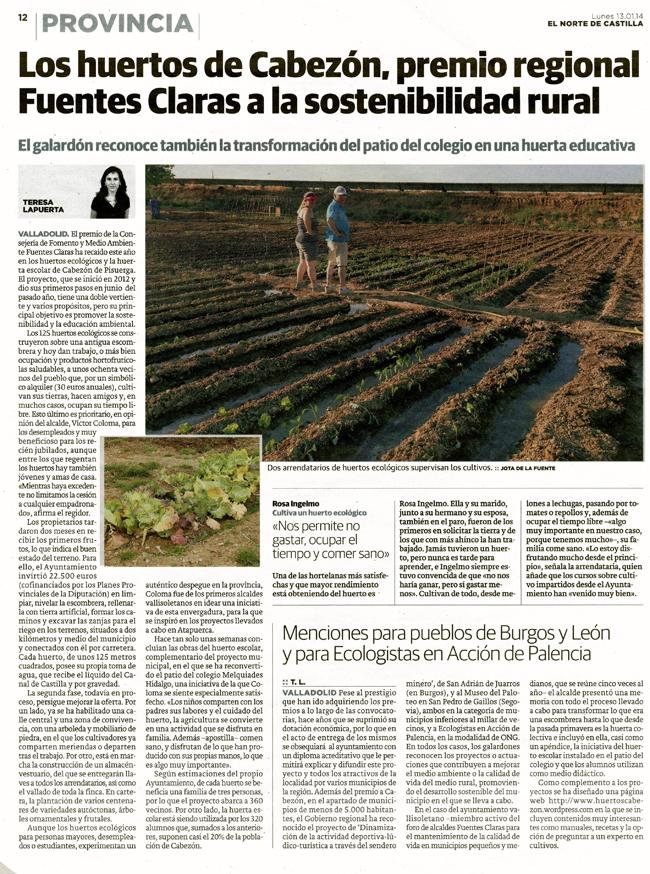 Los huertos ecológicos de Cabezón galardonados con el Premio Fuentes Claras 2014