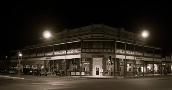 a Broken Hill pub at night