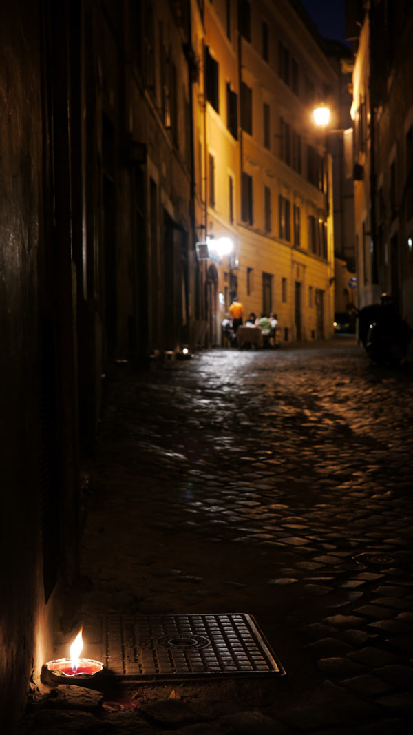 A cafe at night in Rome