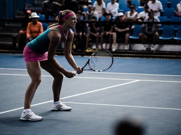 Belgian player, Yanina Wickmayer in a doubles event