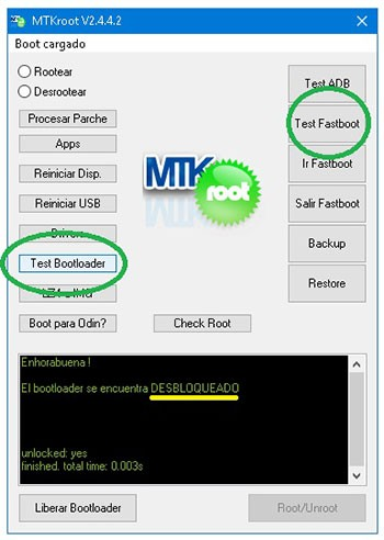 MTKroot v2.4.4.2 verificar bootloader en Cubot King Kong Mini