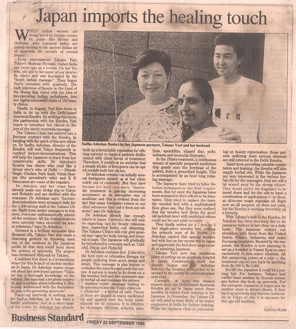 Dr Sudha travels to Japan to introduce Ayurveda