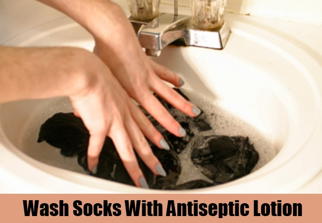 Wash Socks With Antiseptic Lotion