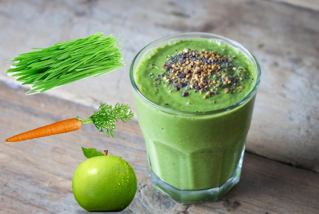 Green Apple, Carrot And Wheat Grass Juice