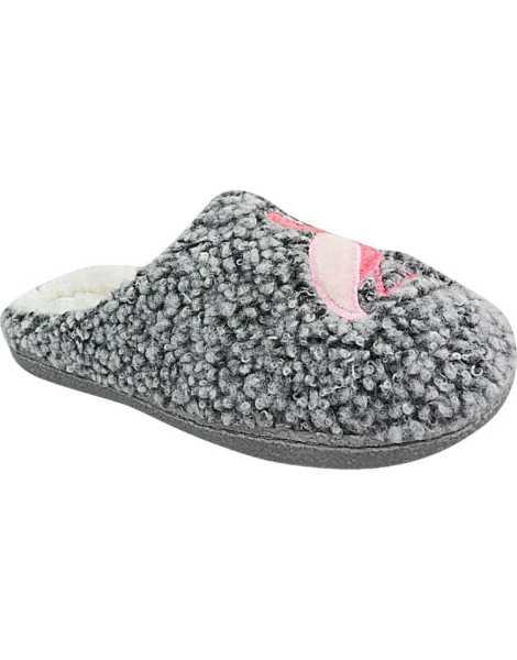 Ladies Fur Lined Slippers | Womens Ladies Warm Fur Lined Winter Slip On Mule Motif Slippers Shoes