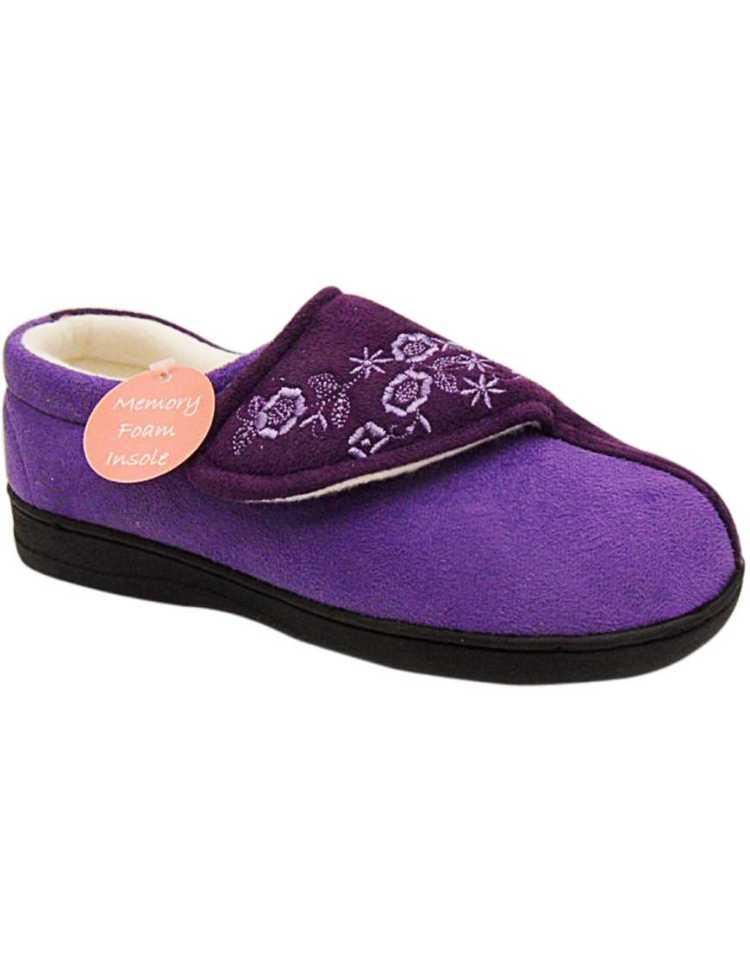 Ladies Memory Foam Slippers   Womens Orthapedic Wide Close Slippers