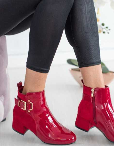 Red Ankle Boots Womens with Heel