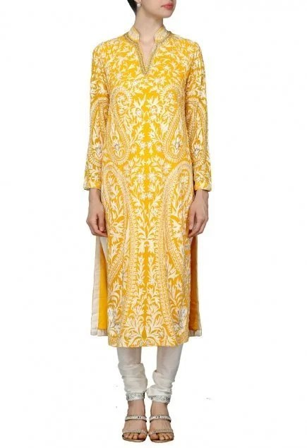 Mango yellow motif embroidered kurta set