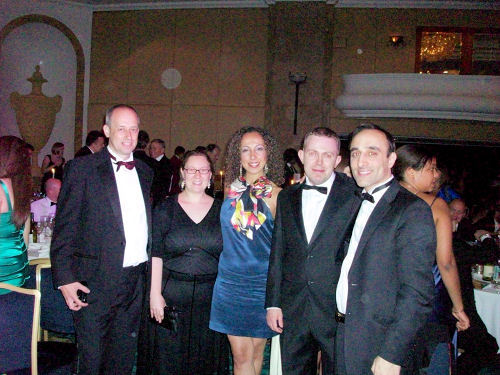 The Azam Marketing team at the a4u Awards. From left to right: Stuart Reader, Karen Clayton, Yagmur Guven, and Nadeem Azam. Includes the wonderful Steve Lownds of AffiliateFuture from second to right