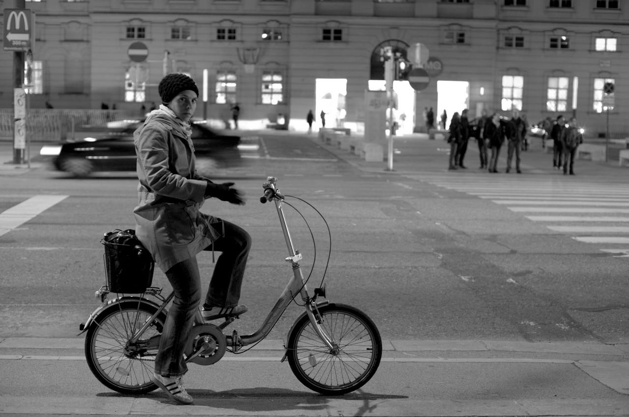 Biker at the traffic lights