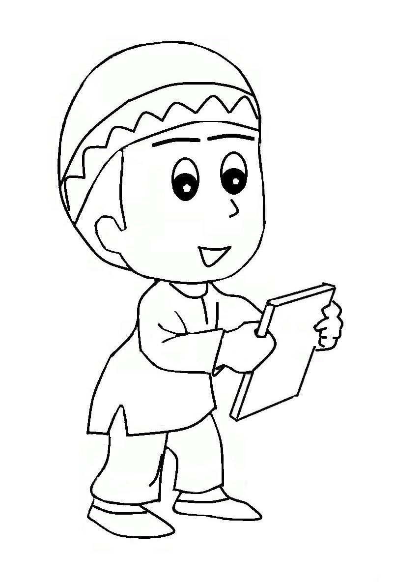Mewarnai Gambar Kartun Anak Muslim  Azhanco